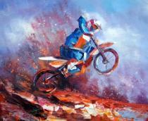 Sport a hudba - Motokrosař, obrazy ručně malované
