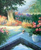 Zátiší - Zátiší s jezírkem, obrazy ručně malované