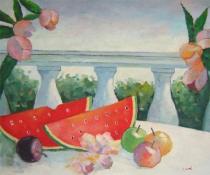 Zátiší - Zátiš s melouny, obrazy ručně malované