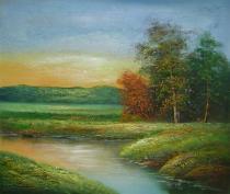 obrazy, reprodukce, Řeka v západu slunce
