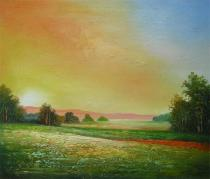 obrazy, reprodukce, Samota v západu slunce