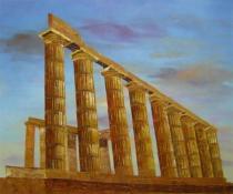 Zátiší - Antické sloupy, obrazy ručně malované