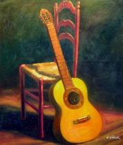 Zátiší - Zátiší kytara, obrazy ručně malované