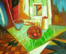Zátiší - Italská večeře, obrazy ručně malované