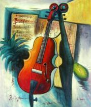 obrazy, reprodukce, Zátiší s houslemi