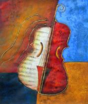 obrazy do bytu - obraz Dvoubarevné housle - obrazy ručně malované