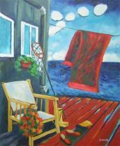 Zátiší - Pohoda na molu, obrazy ručně malované