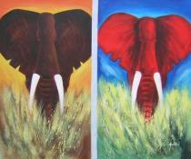 obrazy, reprodukce, Pár slonů