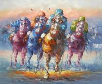 Zvířata - Dostihy, obrazy ručně malované