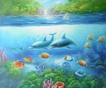 Zvířata - Delfíni a tropické ryby, obrazy ručně malované