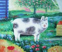 Zvířata - Usmívající se prasátko, obrazy ručně malované