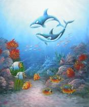 Zvířata - Pár velryb, obrazy ručně malované