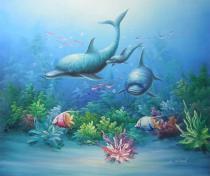 obrazy, reprodukce, Tri delfíny