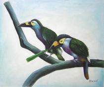 Zvířata - Ptačí pár, obrazy ručně malované
