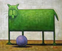 Zvířata - Zelená kočka s míčem, obrazy ručně malované