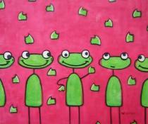 Zvířata - Veselé žabičky, obrazy ručně malované