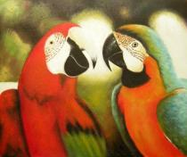 obrazy, reprodukce, Dva papoušci