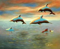 obrazy, reprodukce, Delfíni