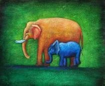 Zvířata - Dva sloni, obrazy ručně malované