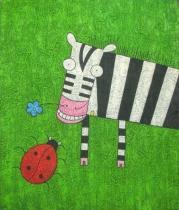 Zvířata - Zebra s beruškou, obrazy ručně malované