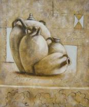 obrazy, reprodukce, Čtyři keramické vázy