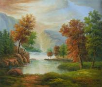 obrazy, reprodukce, Krajina s řekou