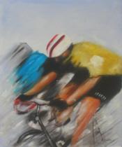 Sport a hudba - Cyklista, obrazy ručně malované
