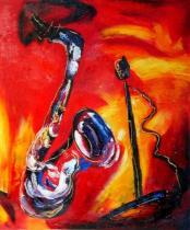 Sport a hudba - Saxofon, obrazy ručně malované