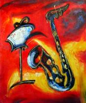 obrazy, reprodukce, Saxofón s notami