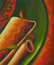 Sport a hudba - Hra na saxofon, obrazy ručně malované