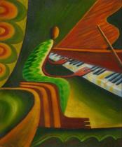Sport a hudba - Pianista, obrazy ručně malované
