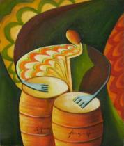 Sport a hudba - Bubeník, obrazy ručně malované