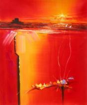 Abstraktní obrazy - Západ slunce, obrazy ručně malované