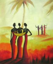 Africké motivy - Lidé v západu slunce, obrazy ručně malované