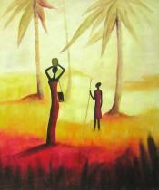 Africké motivy - Ženy v západu slunce, obrazy ručně malované