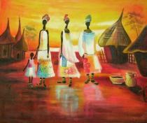 Africké motivy - Indiánské ženy, obrazy ručně malované