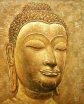 obrazy do bytu - obraz Hlava Buddhy - obrazy ručně malované