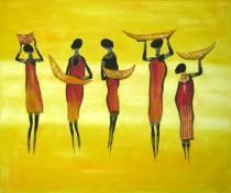 Africké motivy - Společný tanec, obrazy ručně malované