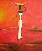 Africké motivy - Na cestě, obrazy ručně malované