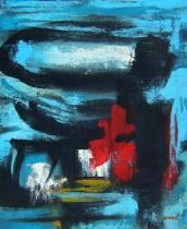 Abstraktní obrazy - Kytka v moři, obrazy ručně malované