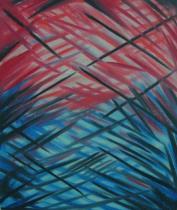 Abstraktní obrazy - Modročervené blouznění, obrazy ručně malované