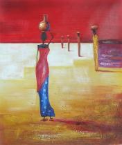 Africké motivy - Sklizeň, obrazy ručně malované