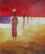 Africké motivy - Kavalkáda, obrazy ručně malované