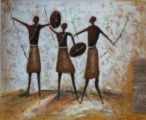 Africké motivy - Bojovníci, obrazy ručně malované