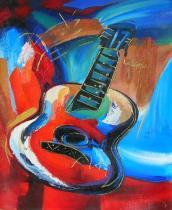 obrazy, reprodukce, Farebná gitara