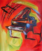 Sport a hudba - Barevný klavír, obrazy ručně malované