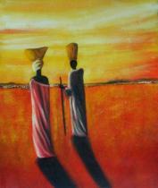Africké motivy - Hledání pramenu řeky, obrazy ručně malované