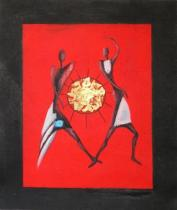 Africké motivy - Hra na buben, obrazy ručně malované
