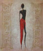 Africké motivy - Modelka v červené sukni 1, obrazy ručně malované
