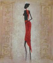 Africké motivy - Modelka v červené sukni 2, obrazy ručně malované
